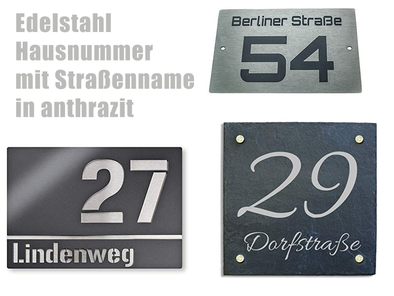 ver Schwarz Ohne Stra/ßenname Gr/ö/ßen S-XL Hausnummernschild Anthrazit RAL7016 Hausnummer aus Edelstahl direkt vom Hersteller Wei/ß